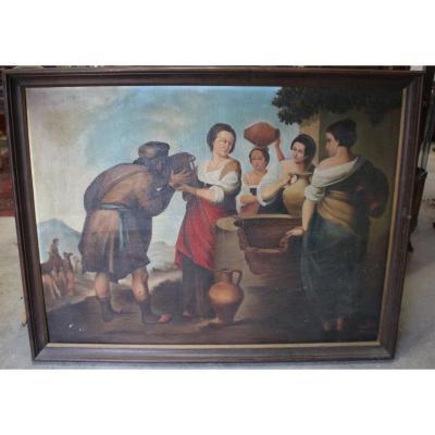 Tableau Rebeca et Eliezer d'après l'oeuvre de Bartolomé Esteban Murillo