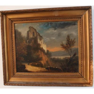 Ecole nordique du XVIIIe siècle - Paysage animé avec ruine
