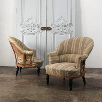 """Pair Of Armchairs """"crapaud"""" Nap III Period"""
