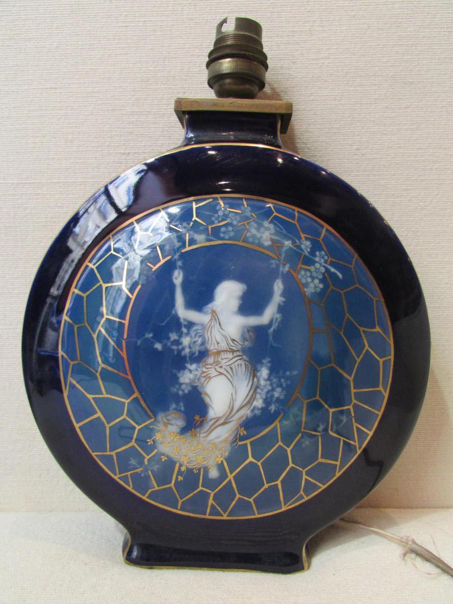 Rare Ancienne Lampe Porcelaine De Limoges Signé Tharaud Elegante Balancoire