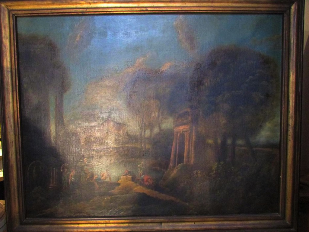 Tableau Huile Sur Toile XVIII Eme Italien Scene Romantique Paysage De Ruines