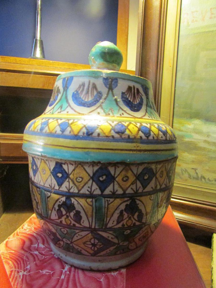 Vase Marocain Epoque 1930 Environ Emaillé Fez Maroc Pot Couvert