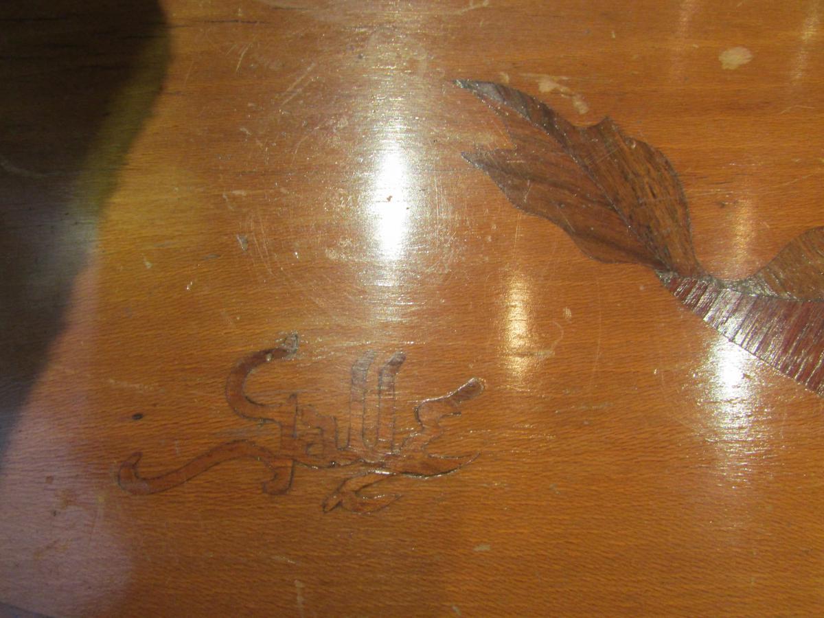 Table Guéridon Emile Gallé En Marqueterie Epoque Art Nouveau Croix De Lorraine Chardon Nouille -photo-4