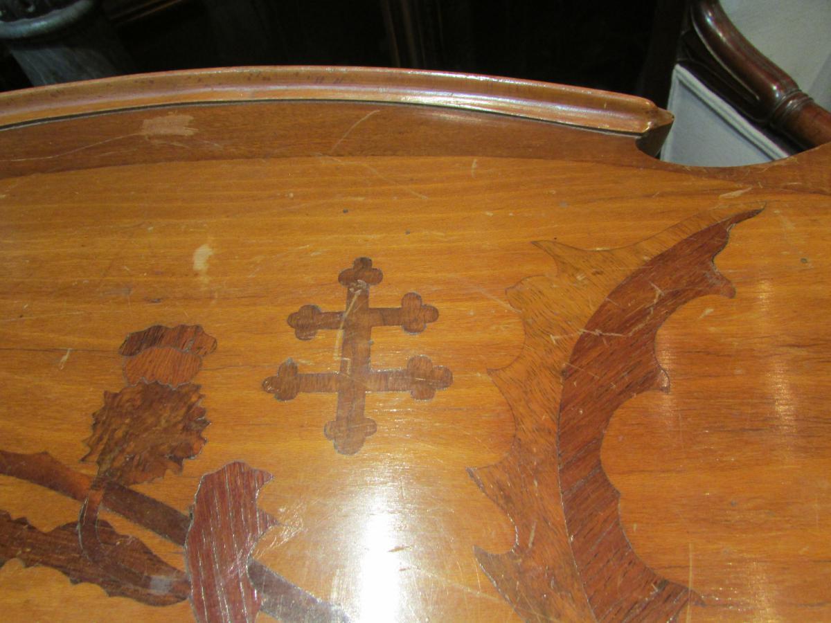 Table Guéridon Emile Gallé En Marqueterie Epoque Art Nouveau Croix De Lorraine Chardon Nouille -photo-1