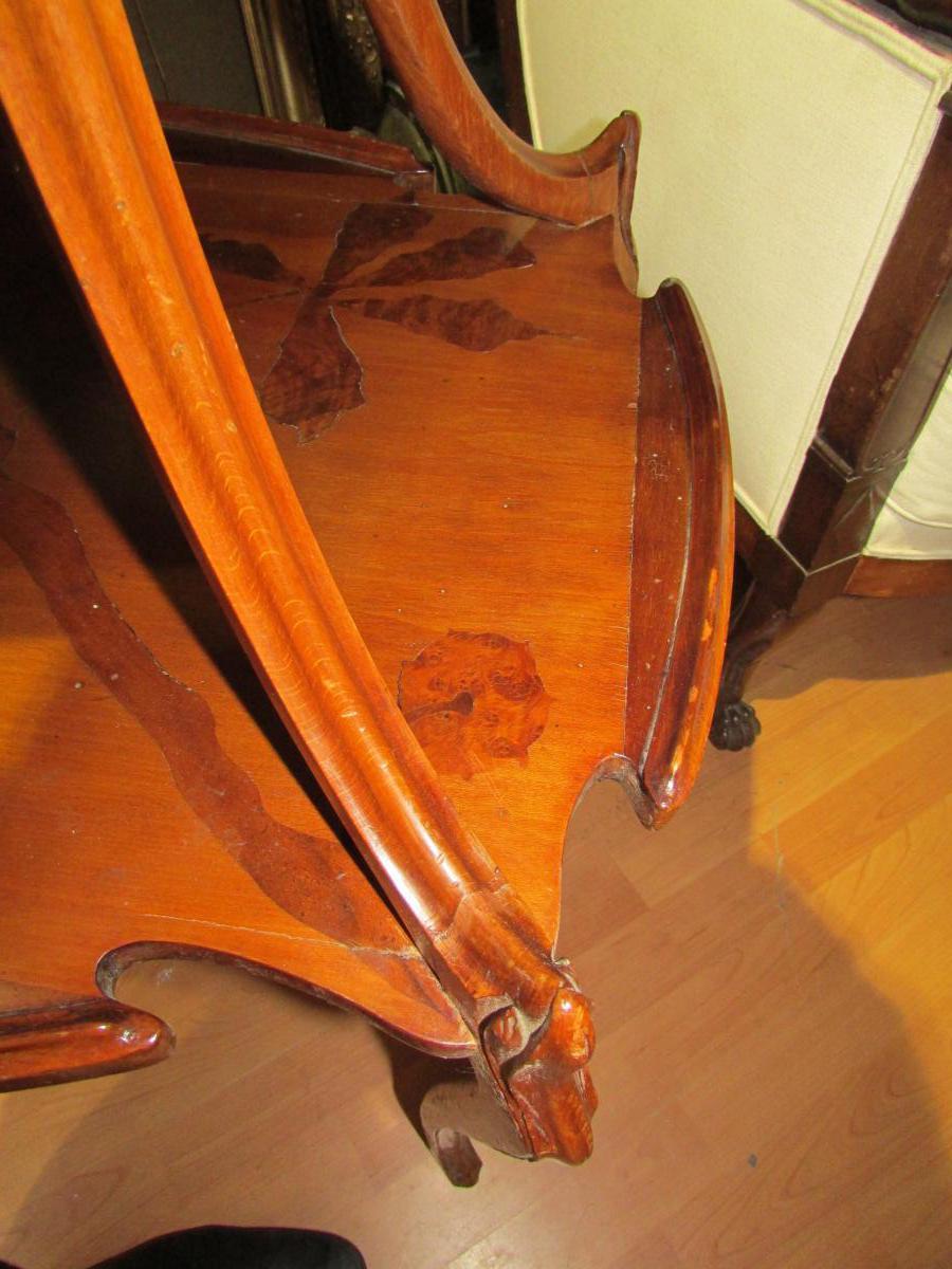 Table Guéridon Emile Gallé En Marqueterie Epoque Art Nouveau Croix De Lorraine Chardon Nouille -photo-2