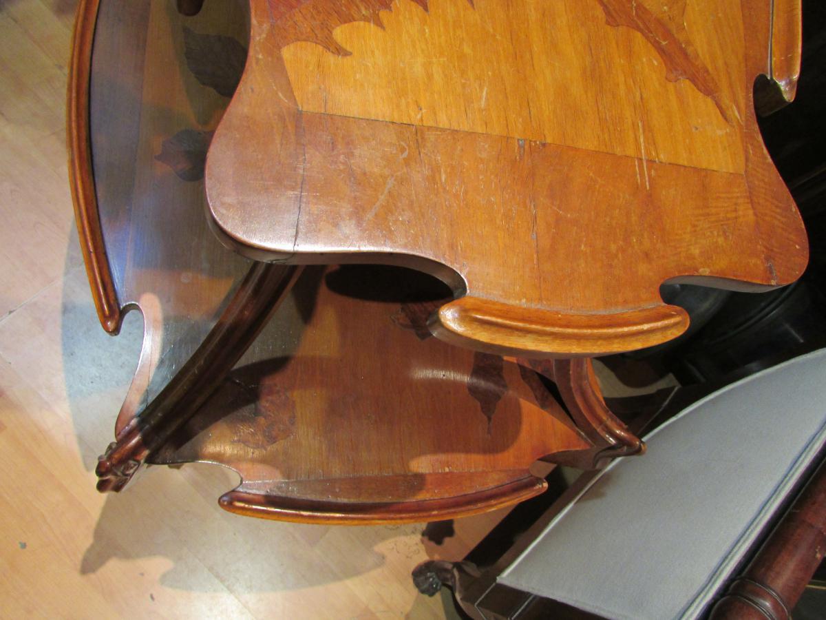 Table Guéridon Emile Gallé En Marqueterie Epoque Art Nouveau Croix De Lorraine Chardon Nouille -photo-3