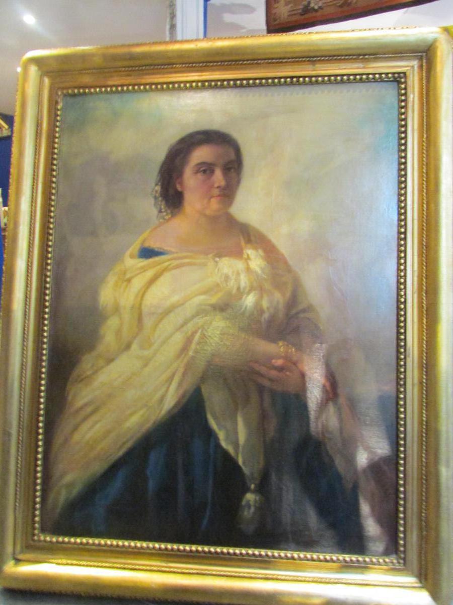 grand tableau xix eme portrait de femme cadre huile sur. Black Bedroom Furniture Sets. Home Design Ideas