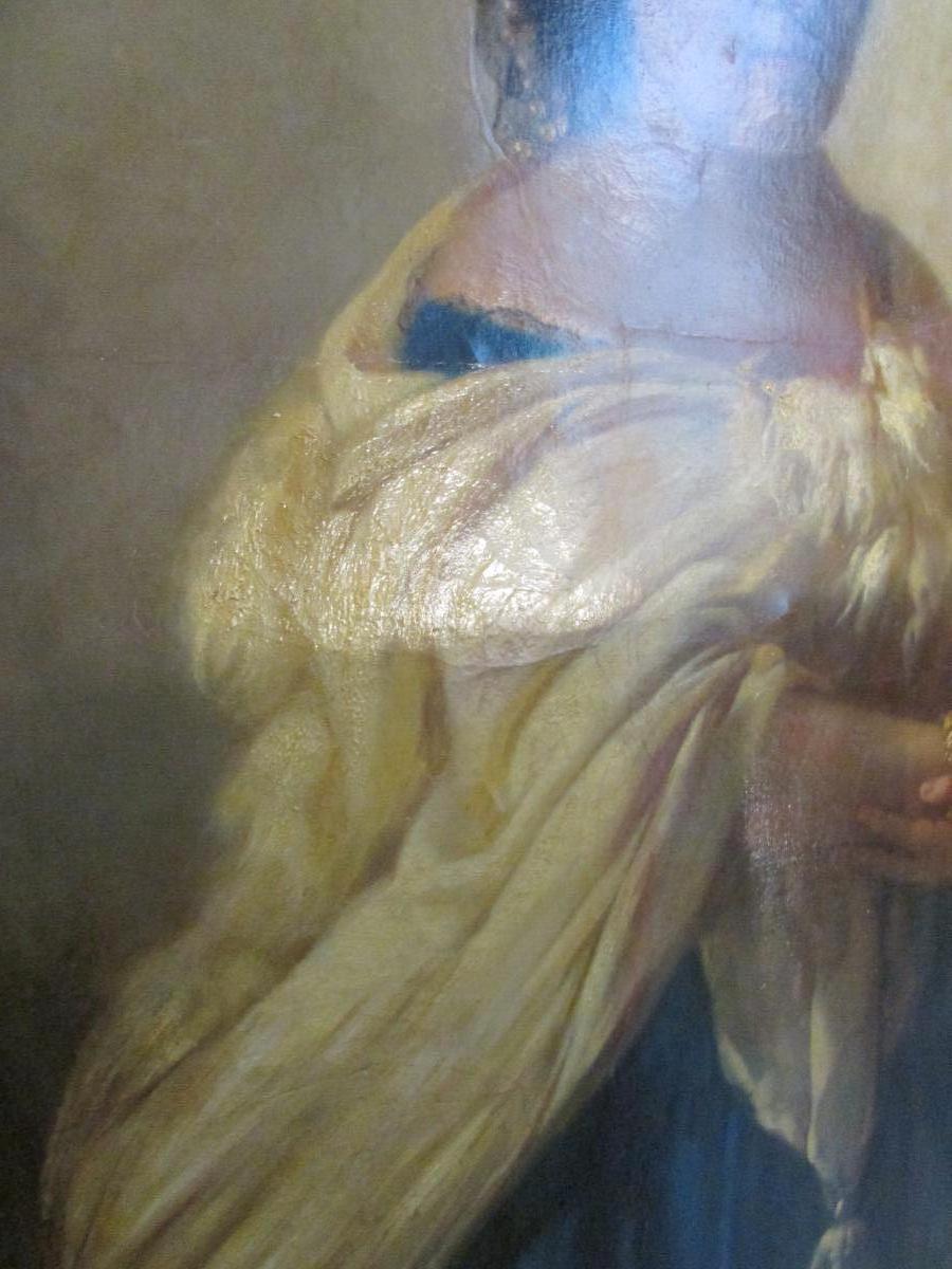 grand tableau XIX eme portrait de femme cadre huile sur toile signé-photo-3