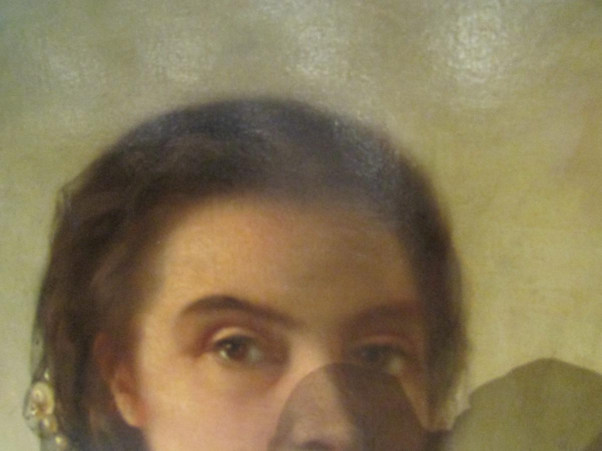grand tableau XIX eme portrait de femme cadre huile sur toile signé-photo-4