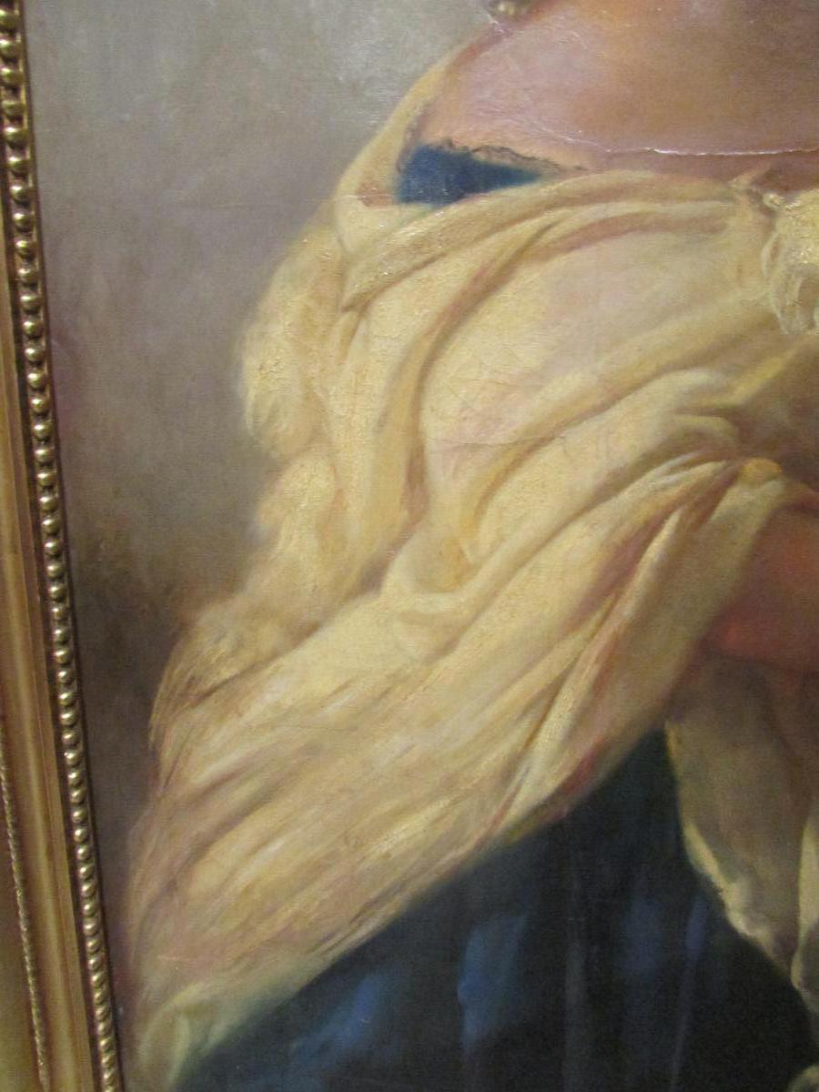 grand tableau XIX eme portrait de femme cadre huile sur toile signé-photo-1