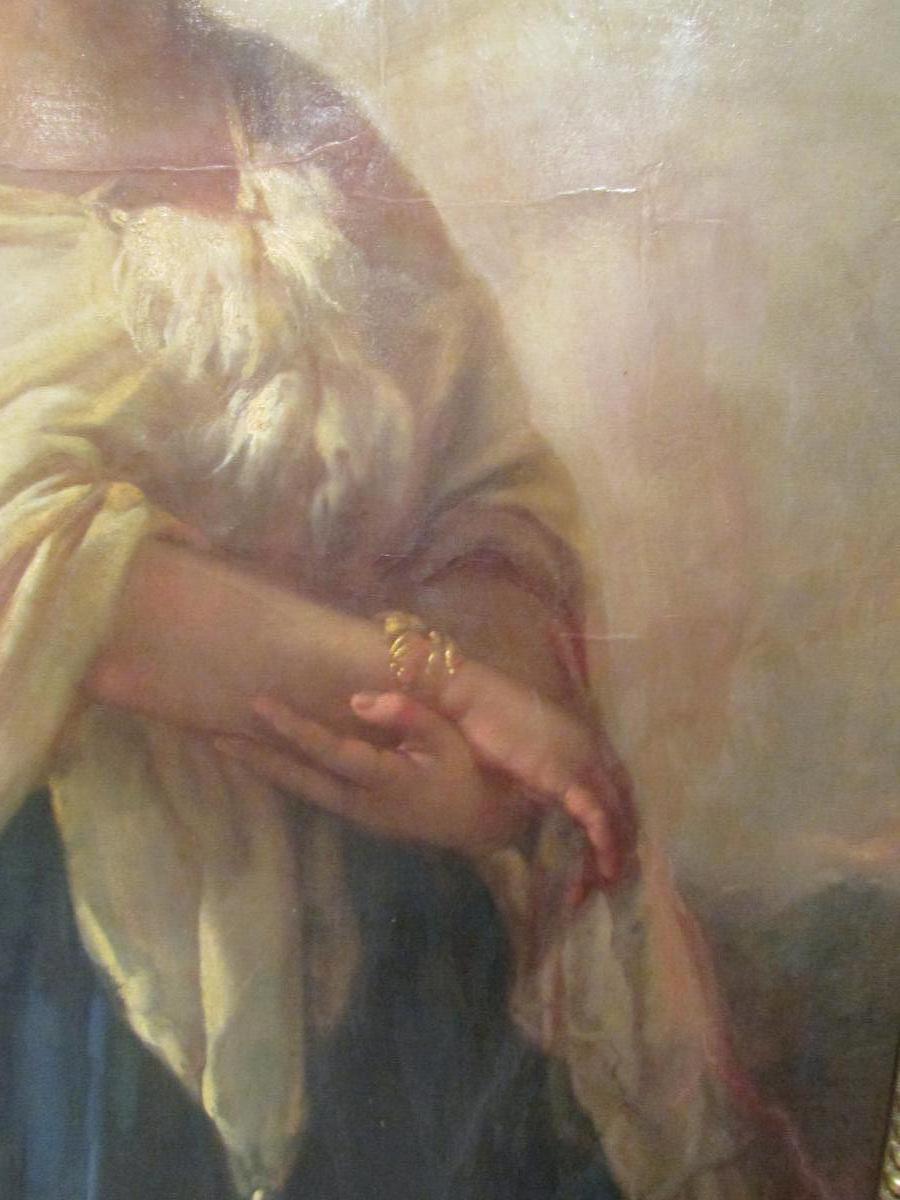 grand tableau XIX eme portrait de femme cadre huile sur toile signé-photo-2