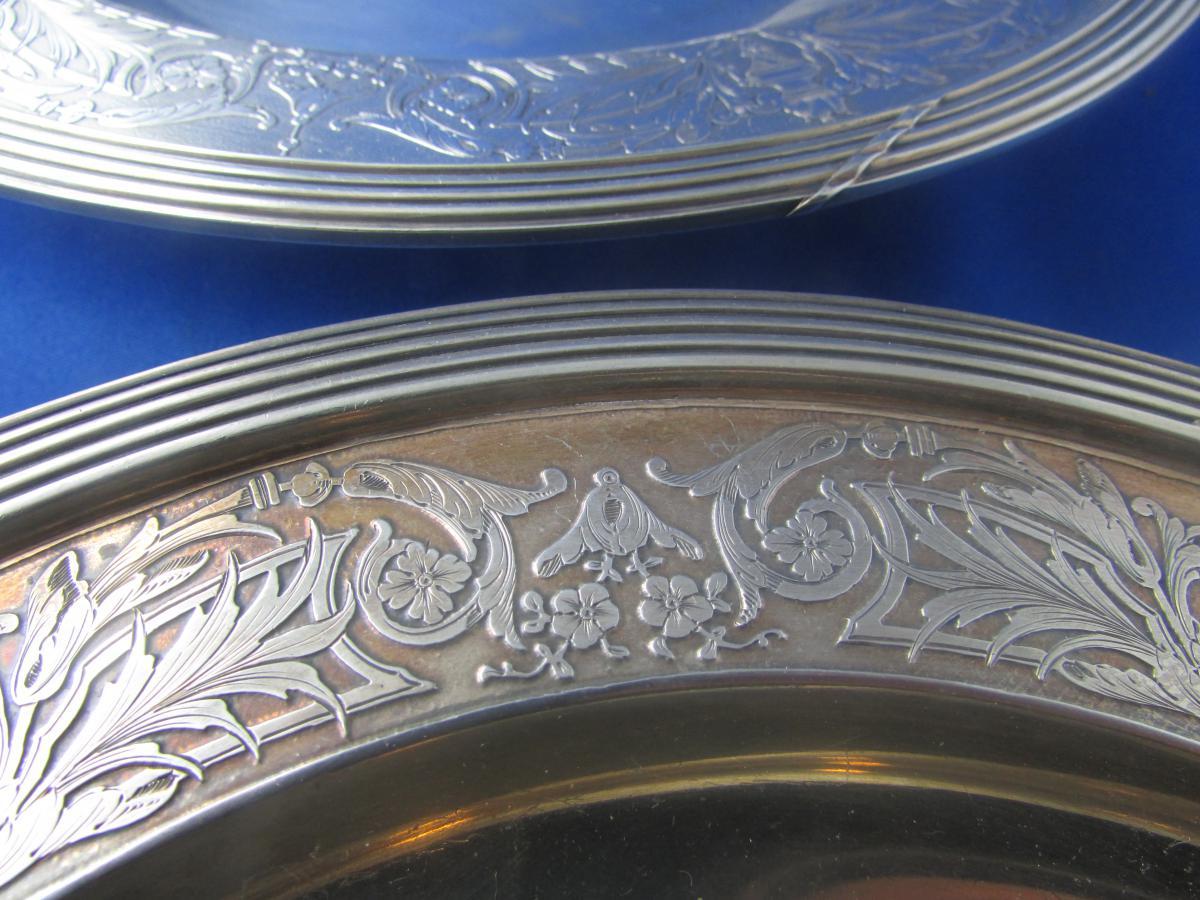 Ancienne Paire Plats Argent Massif Poincon Minerve Epoque 19 Eme Style L XVI Neoclassique -photo-3