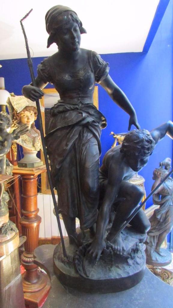 Ancien Important Groupe En Bronze Pecheur Signé jules coutan Epoque XIXe