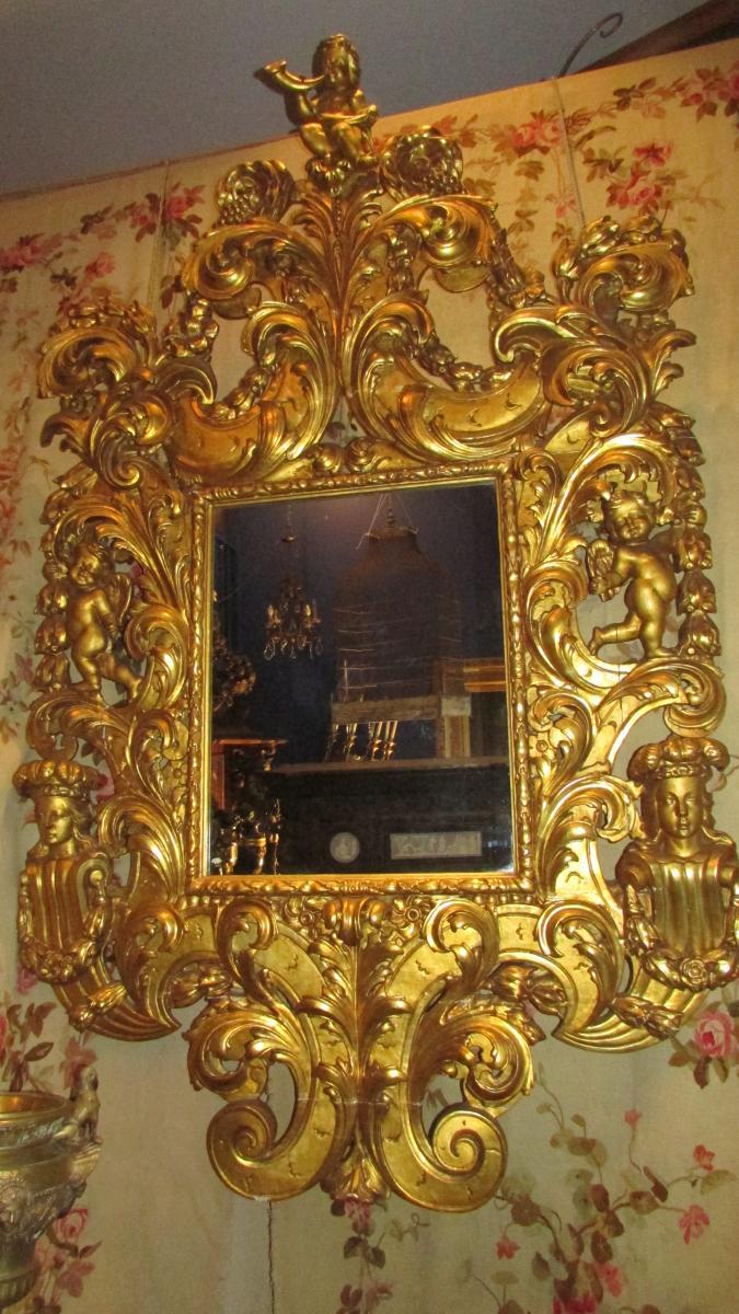 Monumental Miroir Glace En Bois Doré XIXe Renaissance Angelots Putti Bébés 225cm!