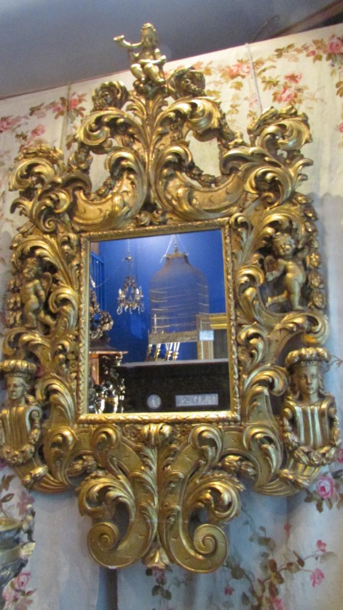 Monumental Miroir Glace En Bois Doré XIXe Renaissance Angelots Putti Bébés 225cm!-photo-2