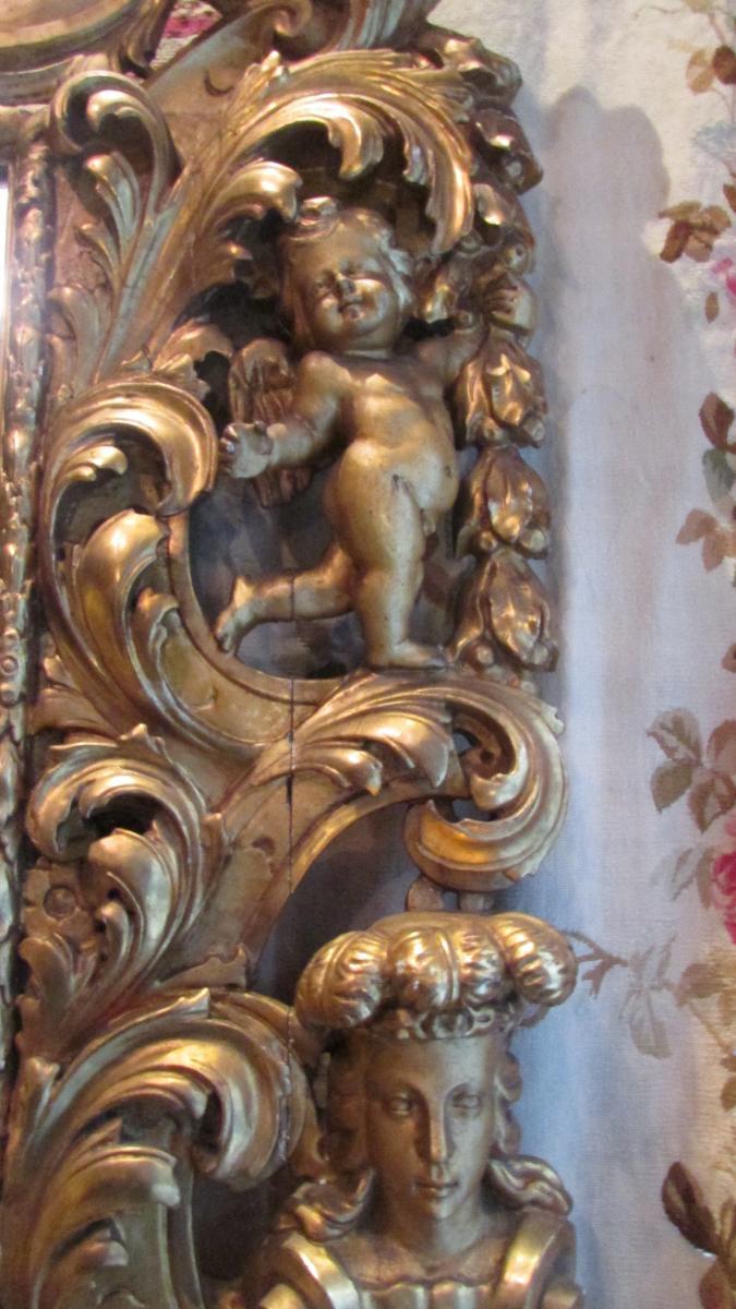 Monumental Miroir Glace En Bois Doré XIXe Renaissance Angelots Putti Bébés 225cm!-photo-3