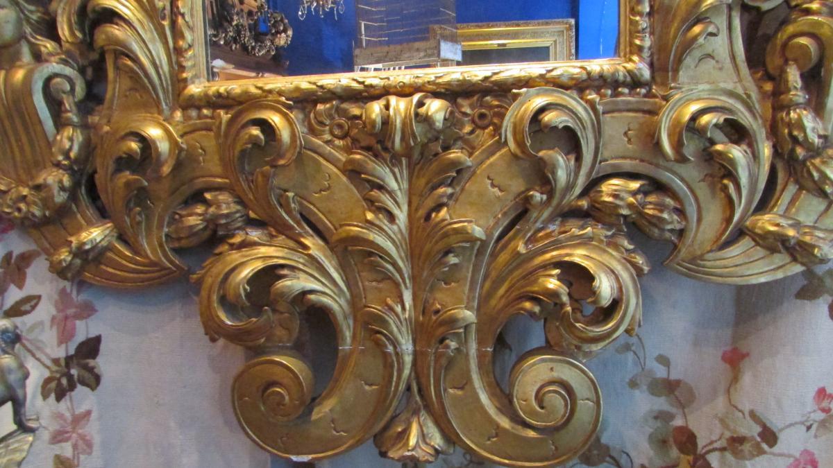 Monumental Miroir Glace En Bois Doré XIXe Renaissance Angelots Putti Bébés 225cm!-photo-4