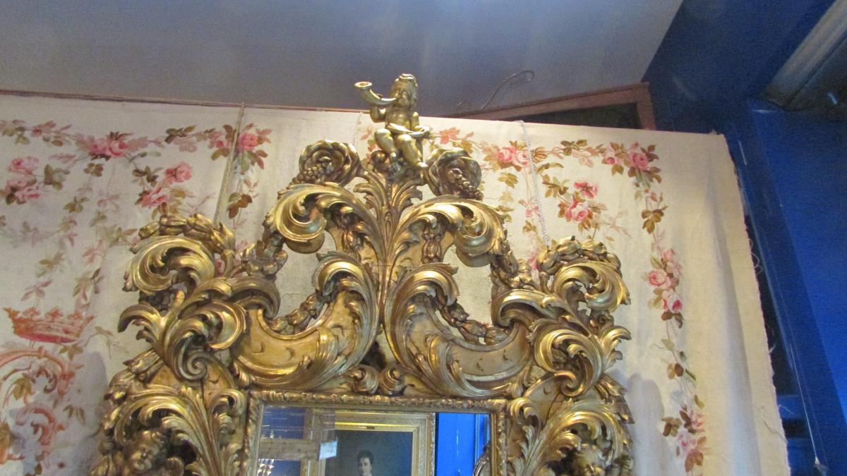 Monumental Miroir Glace En Bois Doré XIXe Renaissance Angelots Putti Bébés 225cm!-photo-1