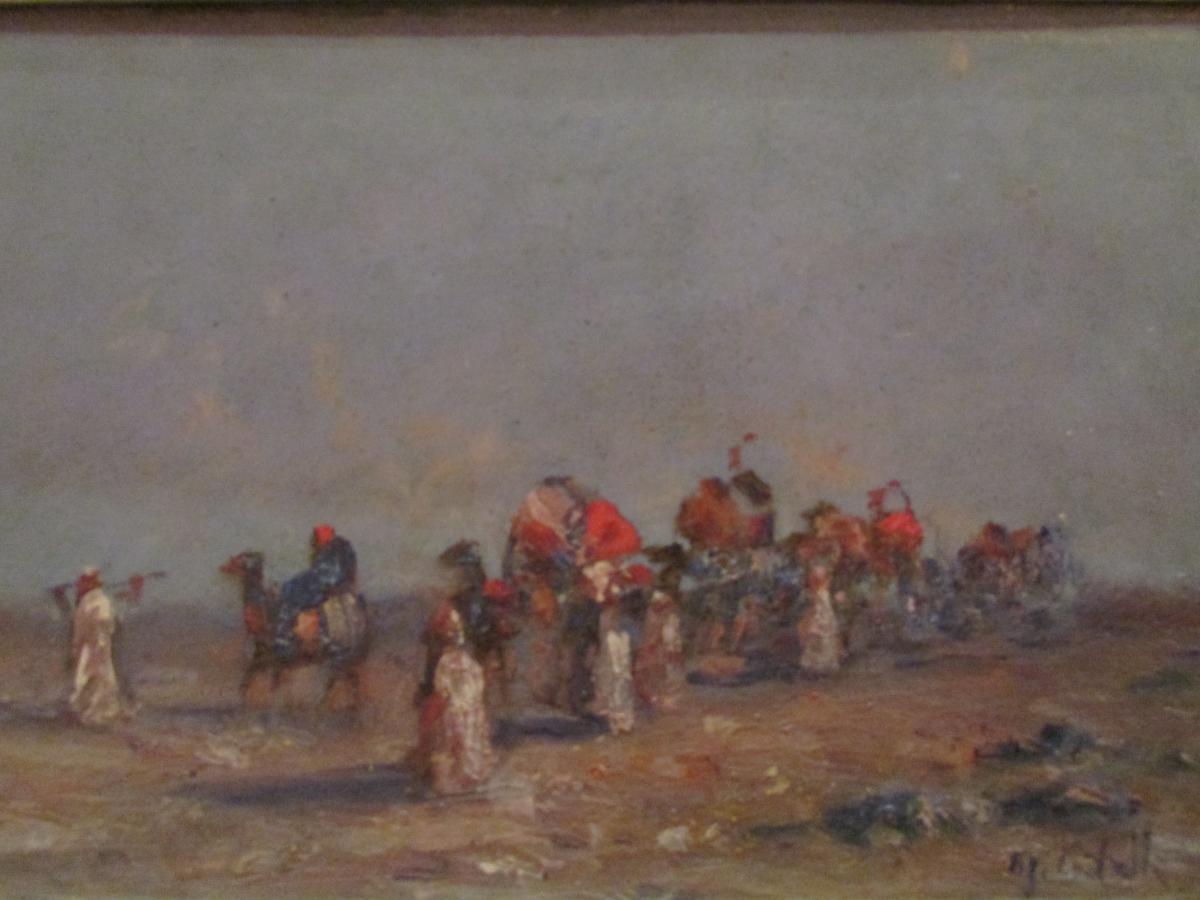 Tableau Orientaliste Huile Sur Panneau Signé Caravane Du Desert Touareg Epoque Vers 1930