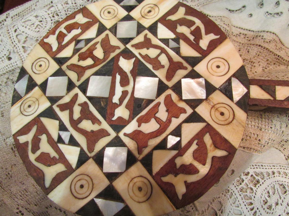 Former Mirror Orientalist Face A Glass Hand Tunisian Marquetry Bone Ebene Nacre XIX