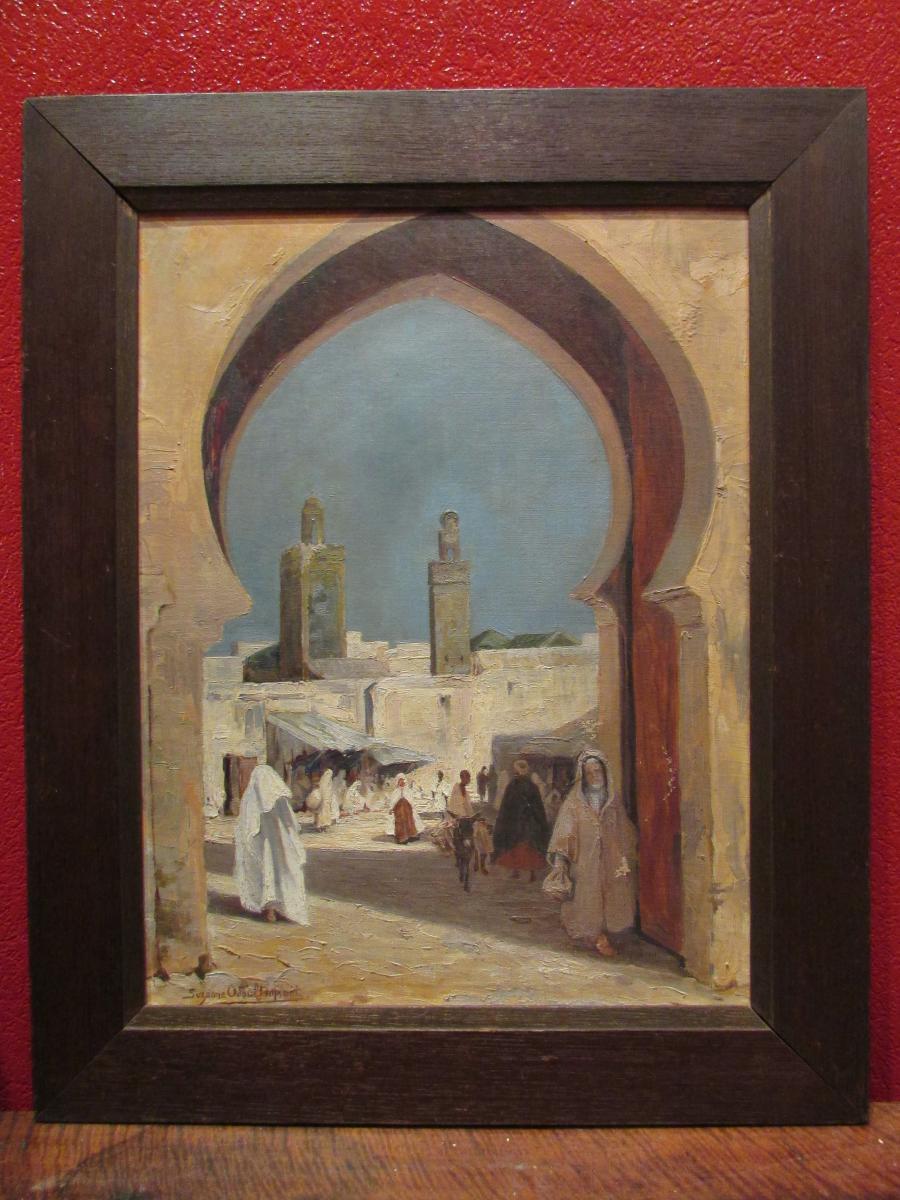 ancien tableau huile sur toile vers 1930 orientaliste porte fes maroc suzanne odoul duquint. Black Bedroom Furniture Sets. Home Design Ideas