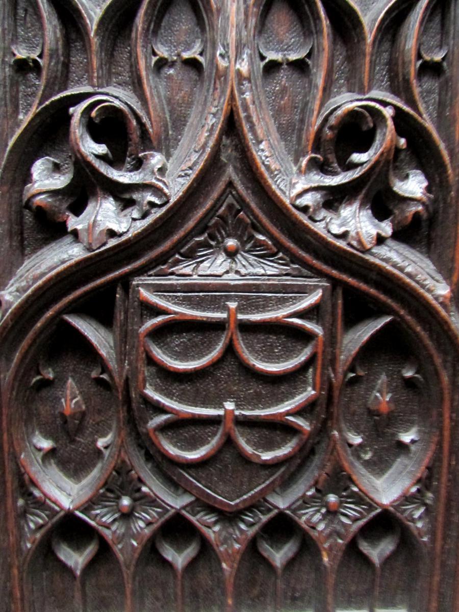 Bel Ancien Meuble Gothique Sculpté Epoque XIX Eme Chene Violet Le Duc Buffet-photo-4
