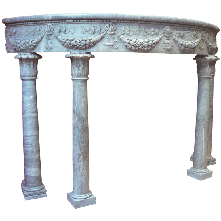 Old Carved Marble Console Era Renaissance Half Moon Monolythique
