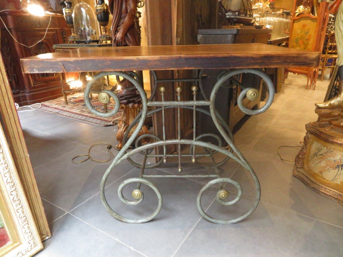 Old Butcher's Table In Wrought Iron And Brass Terrace Epok 1900