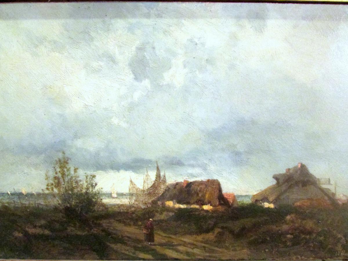 tableau huile toile marine XIXe signé daté village pecheurs normandie pays de caux