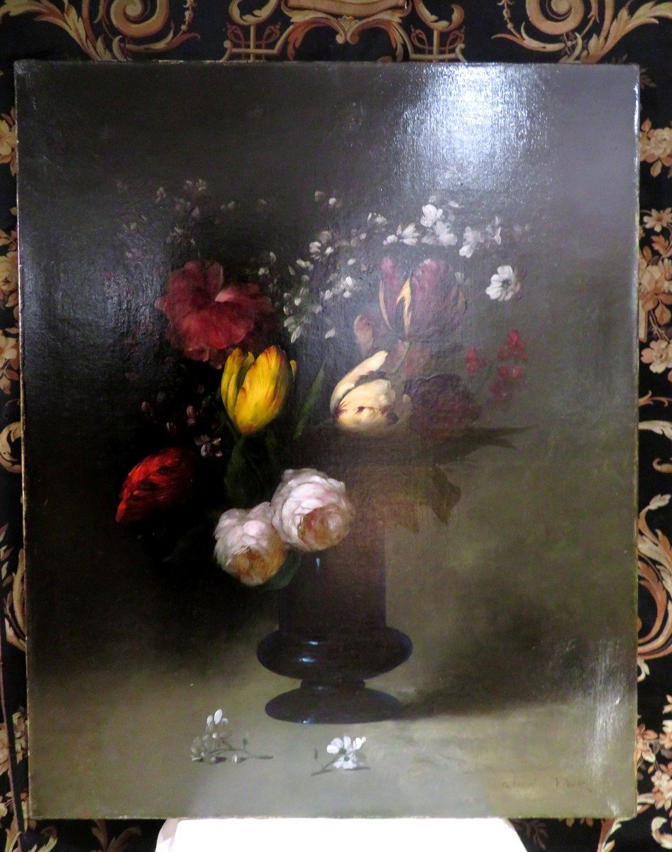 Old Oil On Canvas Painting By G Ribot Bouquet Of Flowers In A Vase Around 1910