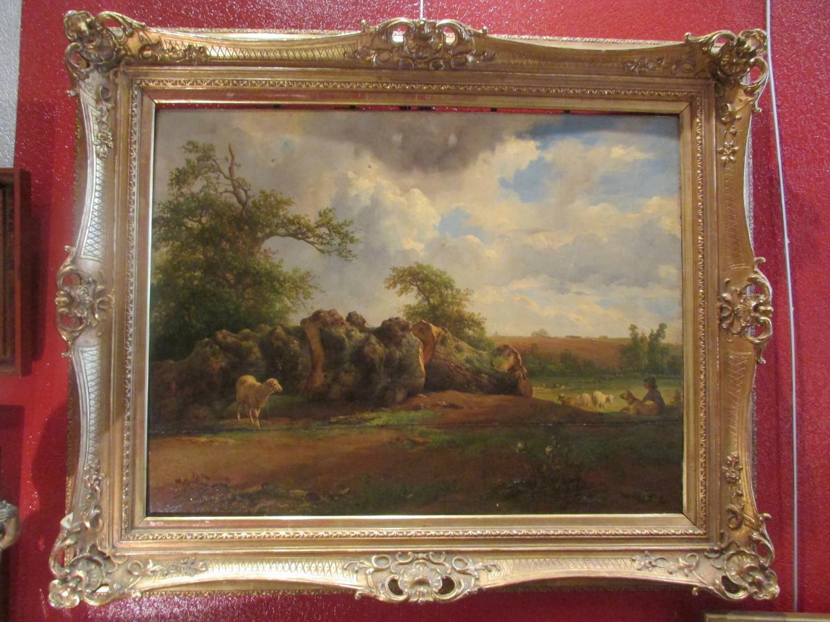 grand tableau huile sur bois brascassat 1852 xixeme ecole de barbizon mouton tableaux paysages. Black Bedroom Furniture Sets. Home Design Ideas