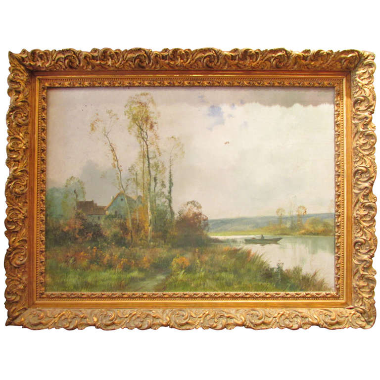 Former Big Picture Oil On Canvas Signed Nineteenth Cippriany Edge River Landscape