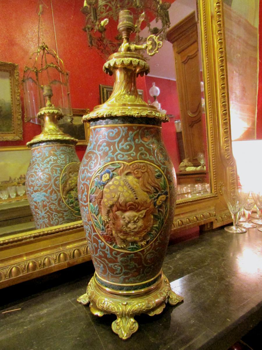 Grand Vase Japonais Fin XIXeme Monté Lampe Bronze Doré Decor Emaillé Lion