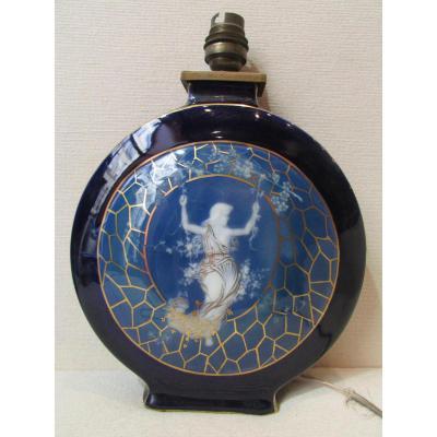 Rare Old Foot Lamp Signed Tharaud Limoges Porcelain Elegante Swing