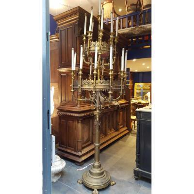 Impressionnant Chandelier d' Eglise Epoque XIXeme Laiton Gothique Gothic Candlestick 240 Cm !!!