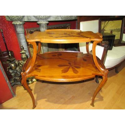Table Guéridon Emile Gallé En Marqueterie Epoque Art Nouveau Croix De Lorraine Chardon Nouille