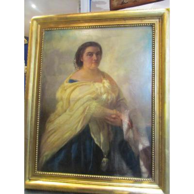 grand tableau XIX eme portrait de femme cadre huile sur toile signé