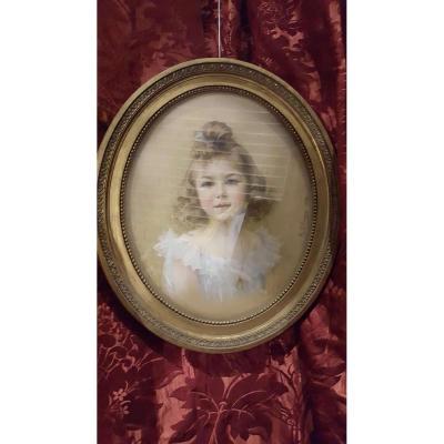 Bel Ancien Pastel Fillette Jeune Fille Epoque 1904 Portrait Signé Olivier Cadre Medaillon