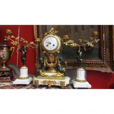Garniture Pendule Chandelier Bronze Doré XIXe Amours Cherubins Putti Napoleon III
