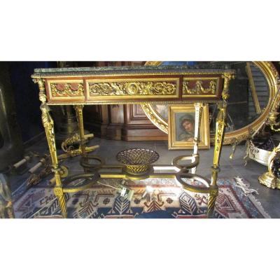 Table Gueridon XIXe Napoleon III Bronze Doré Bois De Rose Cherubin Putti