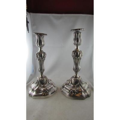 Ancienne Paire Flambeaux Bougeoirs De Table 19e Metal Argenté De Style Louis XIV Regence