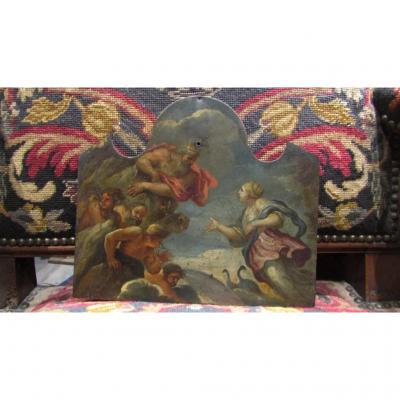 Ancien Tableau Huile Sur Cuivre 17e 18e mythologie Dieux Grecs Zeus Hera