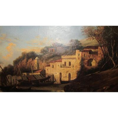 Ancien Tableau Huile Sur Toile Marine Port De Peche Italien Italie XIXe Vers 1830