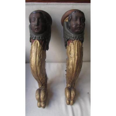 Pair Of Torcheres Arm Of Light Italy XVIII Baroque Torches Wood Gilded And Polychrome