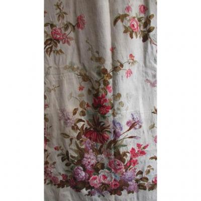 Pair Of Large Hangings Tapestry D Aubusson Monogram G Crowned Flowers Portieres