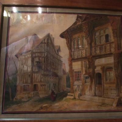 Ancien-tableau-aquarelle-signe-tony-joannot-vieille-ville-de-rouen ou joigny Epxixe