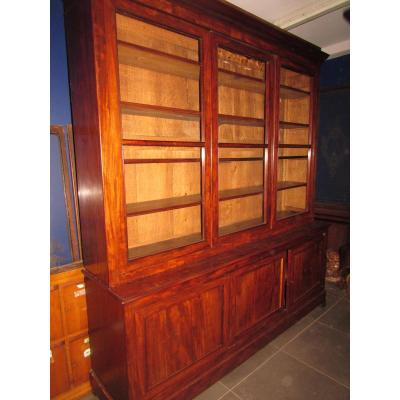 Old Great Library In Mahogany From Cuba Showcase 6 Doors Nineteenth Charles X Louis Philippe