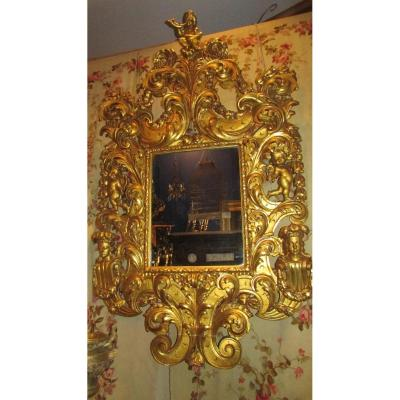 Monumental Mirror Glace Gilded Wood Nineteenth Renaissance Cherubs Putti Babies 225cm!