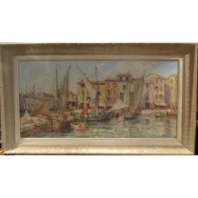 Old Large Oil Painting On Canvas Marine Port Provencal Raoul About Twentieth