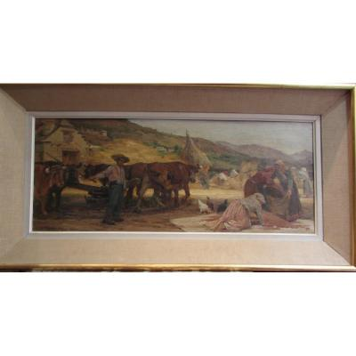 Old Large Oil Painting On Canvas Scene Paysanne Paul Michel Dupuy Dated 1906